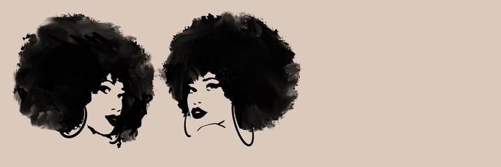 Afro hairstyle, banner