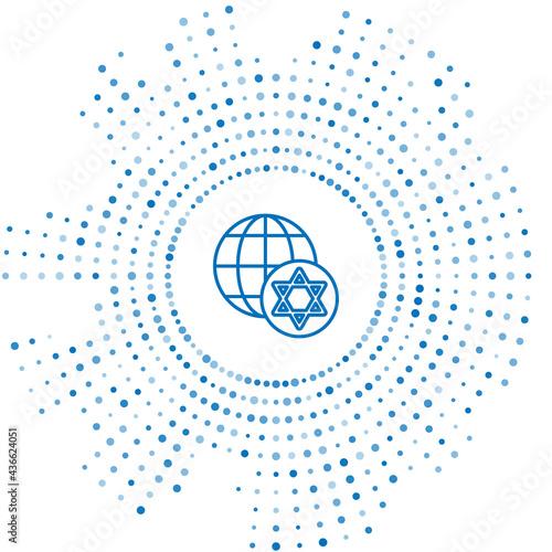 Fotografia Blue line World Globe and Israel icon isolated on white background