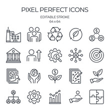 ESG Concept Environmental, Social, And Corporate Governance Related Editable Stroke Outline Icons Set  Isolated On White Background Flat Vector Illustration. Pixel Perfect. 64 X 64.