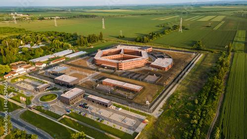 Obraz na płótnie Aerial view of penitentiary prison and detention center near city