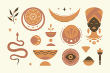 Abstract African Ethnic Decorative Design Elements Set Vector Illustration