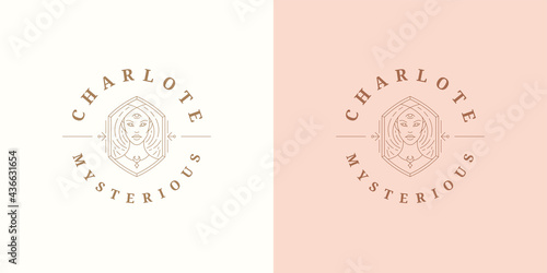 Wallpaper Mural Beauty magic female portrait logo emblem design template vector illustration in