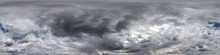 Blue Sky With Beautiful Dark Clouds Before Storm. Seamless Hdri Panorama 360 Degrees Angle View With Zenith For Use In 3d Graphics Or Game Development As Sky Dome Or Edit Drone Shot