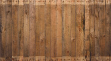 Old Barn Wood Background Texture. Vintage Weathered Rough Planks With Rusty Nails, Evenly Sharp And Detailed Backdrop.