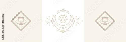 Obraz na plátně Magical eye of wisdom and moon crescent in boho linear style vector illustrations set