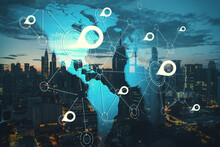 International Geolocation Concept With Digital World Map And White Pinpoints Connected By Lines On Night City Skyscrapers Background