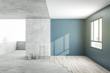 Apartment Renovation Process With Stylish Blue Shades Walls And Wooden Parquet Floor From Concrete Floor And Top