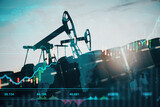 Oil pumping machinery in operation with barrels and digital screen with world map and financial chart graphs and indicators, natural resources stock market concept
