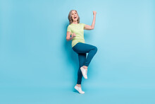 Full Length Body Size Photo Senior Business Woman Gesturing Like Winner Isolated Pastel Blue Color Background
