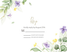 Watercolor Hand Painted Wedding Rsvp Card Template.