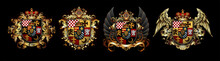 Set Of Heraldic Shields With A Crown And Wings  On A Black Background. High Detailed Realistic Illustration