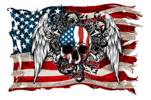 Design Of Postcard, Banner  For Independence Day Of America. Highly Realistic Illustration.
