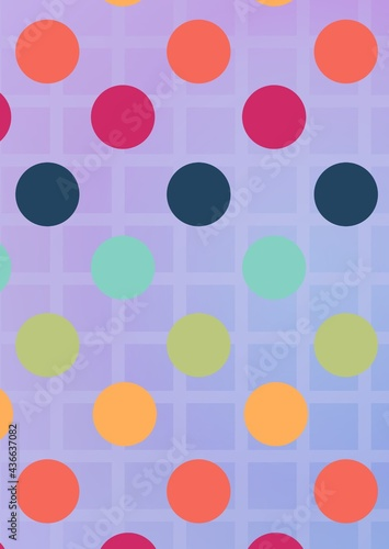 Composition of multiple colourful spots over pattern on purple background