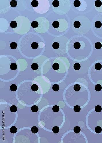 Composition of multiple black and colourful spots over wave pattern on purple background