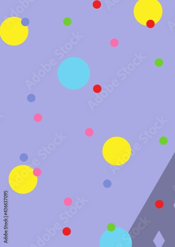 Composition of multiple colourful spots over purple background