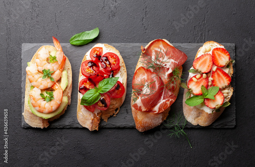 Canvas Appetizers plate with traditional spanish tapas set