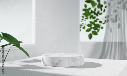 Obraz na plátně White marble product display podium with nature leaves background