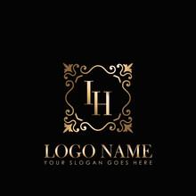 Elegant Monogram Initial Letter IH, With Gold Ornament Design Template.