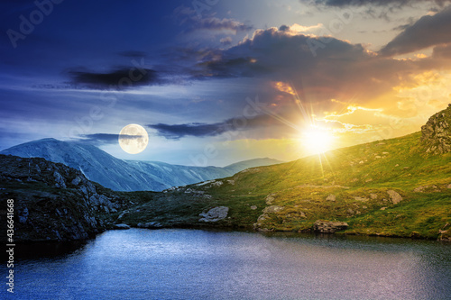 Fotografia day and night time change concept above summer landscape with lake on high altitude