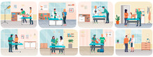 Veterinary Care, Treatment Of Pets Scenes Set. Veterinarian Talking To Owner In Medical Office. Visit To Vet Clinic To Check Health Of Pet. Veterinary Surgeon Helps Treat Patients Domestic Animals
