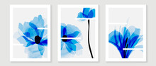 Abstract Art Blue Flower Background Vector. Wall Art Design With Watercolor Art Texture From Floral And Botanical Flower, X-ray Botanical Leaves Design  Vector Illustration.