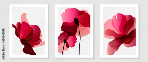 Abstract art red flower background vector. wall art design with watercolor art texture from floral and botanical flower, x-ray botanical leaves design  Vector illustration.