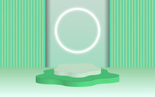 Background Vector 3d Green Rendering With Podium And Minimal Greeen Wall Scene, Minimal Abstract Background 3d Rendering Abstract Geometric Shape Green Pastel Color. Stage For Awards On Website In