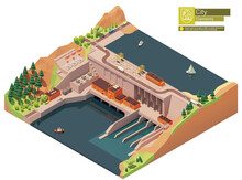 Vector Isometric Hydroelectric Power Station. Hydro Power Station Dam On The River. Hydroelectric Power Plant With Power Lines