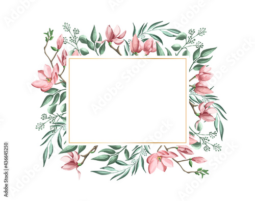Floral wreath made of grass in circle Fototapet