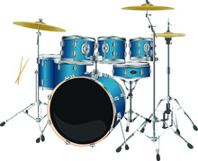 Percussion Musical Instrument. Blue Drums, Stick And Cymbal. Realistic Metallic Drumkit Vector.