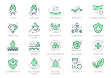 Cosmetic Properties Line Icons. Vector Illustration Include Icon - Shield, Face Lifting, Collagen, Dermatology, Serum Outline Pictogram For Skincare Product. Green Color, Editable Stroke