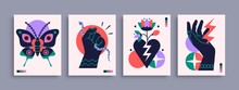 Abstract Poster Collection With Hands, Animals And Abstract Elements And Shapes. Set Of Contemporary Print Templates. Vector Illustration