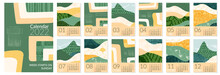 2022 Calendar Template With Abstract Green Nature Field Landscape. Simple Eco Environment Background. Calendar Design Concept With Agriculture Theme. Set Of 12 Months 2022 Pages. Vector Illustration