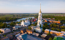 Aerial View Of Shuya Orthodox Resurrection Cathedral And Bell Tower On Background With Teza River And Cityscape, Russia..