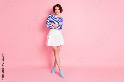 Obraz na plátně Full length photo of pretty girl crossed hands wear striped shirt short skirt fo