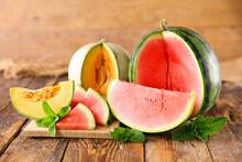 Juicy Fresh Watermelon And Melon Fruit