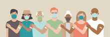 Team Vaccinated. Ethnically Diverse And Mixed Age Group Of People Showing Their Shoulders With Band-aids On After Getting A Vaccine. Vaccination Campaign Concept.