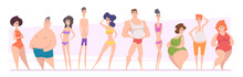 Woman And Man Bodies. Adult Girls And Boys Types Of Bodies Shapes Thin Tall Skinny Fat Exact Vector Illustrations People