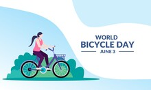 Vector Illustration Of A Girl Cycling On A Nature Background, As A Banner, Poster Or Template For World Bicycle Day.