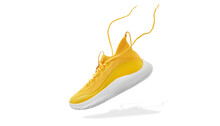 Flying Yellow Leather Womens Sneakers Isolated On White Background. Fashionable Stylish Sports Casual Shoes. Creative Minimalistic Layout With Footwear. Mock Up For Design Advertising For Shoe Store