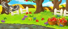 Cartoon Farm Ranch Orchard Garden Owl Illustration