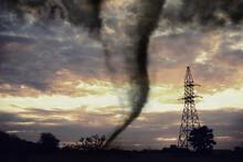 Dangerous Whirlwind Near Transmission Tower At Field. Weather Phenomenon
