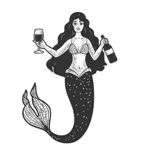 Mermaid With Glass And Bottle Of Wine Line Art Sketch Engraving Vector Illustration. T-shirt Apparel Print Design. Scratch Board Imitation. Black And White Hand Drawn Image.