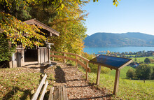 Lookout Point Prinzenruh, View To Lake Tegernsee, Autumnal Landscape Bavaria