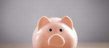 Piggy Bank On The Desk. Saving. Business