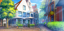2D Illustration Of Schnoor At The Daytime, Anime Background.