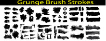 Grunge Brush Strokes Set. Ink Brush Strokes, Brushes, Lines. Dirty Artistic Design Elements. Vector Illustration. Isolated On White Background. Black Paint Stencil With Splashes.