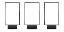Set Of Realistic Blank Outdoor Lightboxes Banner. Vertical Empty Advertising Billboard. Street Shield Display. Mockup Template For Poster, Covers, Advertising Background. Vector Illustration