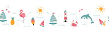 Lovely Hand Drawn Summer Seamless Pattern, Cute Doodles, Beach Background, Great For Textiles, Swimwear, Wrapping, Banners, Wallpapers - Vector Design