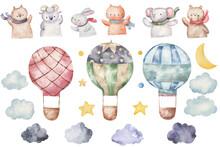 Set Of Balloons And Animals Watercolor Childish Illustration, Design Room, Wallart